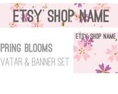 Etsy shop set - spring blooms, premade, made to order, pink, floral, purple, pastel, flowers, avatar, banner