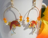 Orange and Gold Cloisonne Dolphin Earrings
