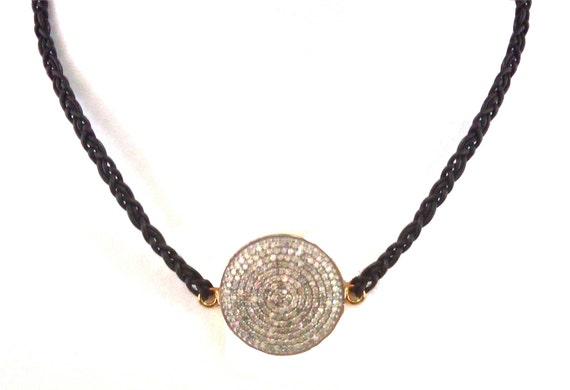 25mm Pave Diamond Disc Braided Necklace