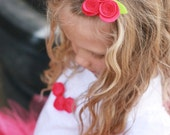 trio of pink felt rosettes hair clip, anthropologie inspired, shabby chic,  girl