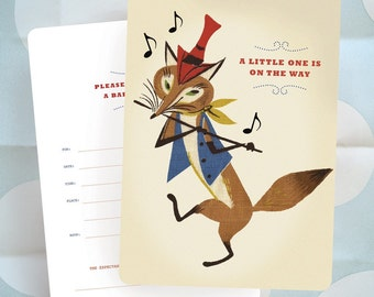 Baby Shower Invitation - FOX with Flute on Parade - Vintage Barkcloth Design / Ready to Ship