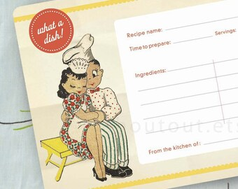 RECIPE Cards - Retro Kitchen - What A Dish - Set of 20 - Ready to Ship
