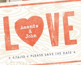 Custom LOVE Save the Date Invitations - Wedding Invitations - Personalized Rustic Woodgrain Design - Engagement Party Invitation - 75 Cards