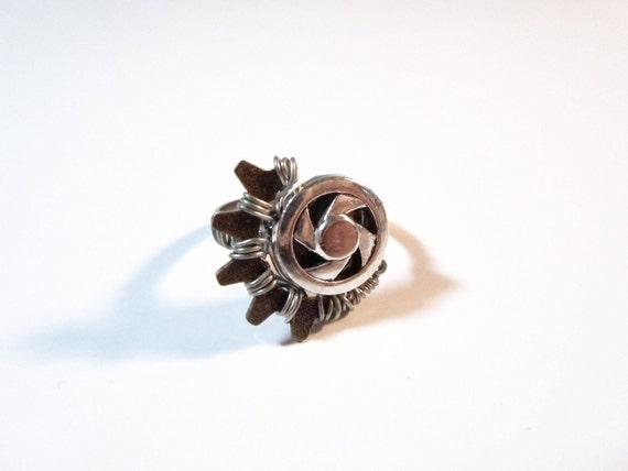Wirewrapped Gear Ring Steampunk