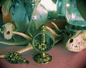 Vintage Glass & Brass Decorative Ornate Victorian Flower Perfume Bottle Home Decor Vanity