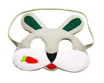 Bunny Felt Mask for kids - Grey - childrens animal costume for boys girls - soft Dress Up play accessory Theatre roleplay