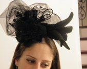black fascinator with sequins - hat with feathers- cocktail hat - Derby hat - Ascot hat - Melbourne cup