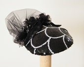 couture black and white fascinator cocktail hat  Great Gatsby black hat with sequins -  black fascinator - Kentucky Derby - Ascot hat