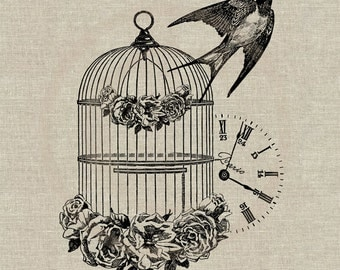 French Vintage Bird Cage Swallow. Instant Download Digital Image No.62 Iron-On Transfer to Fabric (burlap, linen) Paper Prints (cards, tags)