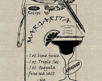 Margarita recipe Instant Download Digital Image No.4 Iron-On Transfer to Fabric (burlap, linen) Paper Prints (cards, tags)
