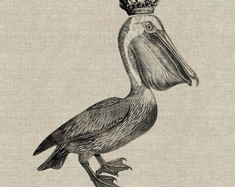 Royal Pelican Instant Download Digital Image No.36 Iron-On Transfer to Fabric (burlap, linen) Paper Prints (cards, tags)