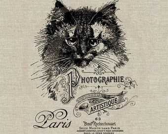 Vintage French Photography Studio Ad Instant Download Digital Image No.125 Iron-On Transfer to Fabric burlap linen Paper Prints cards tags