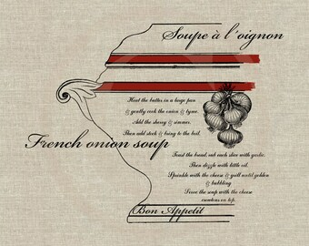 French Onion Soup Recipe Instant Download Digital Image No.130 Iron-On Transfer to Fabric (burlap, linen) Paper Prints (cards, tags)