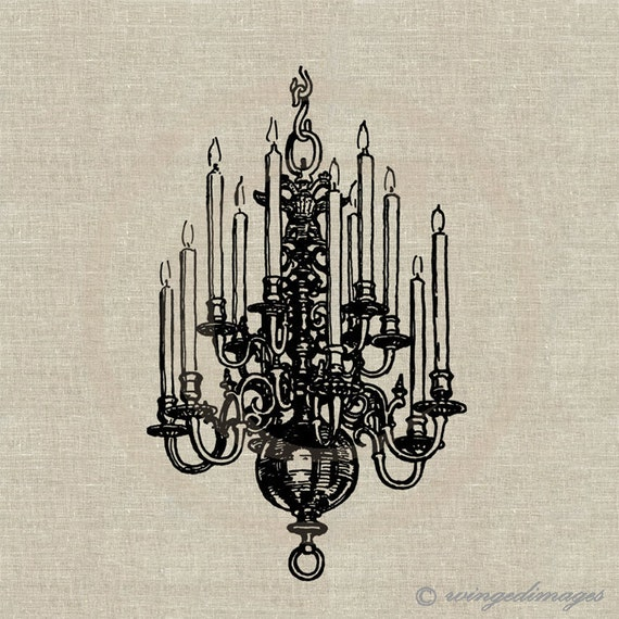 Shabby Chandelier Instant Download Digital Image No.59 Iron-On Transfer to Fabric (burlap, linen) Paper Prints (cards, tags)