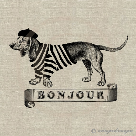 French Dachshund Bonjour Instant Download Digital Image No.102 Iron-On Transfer to Fabric (burlap, linen) Paper Prints (cards, tags)