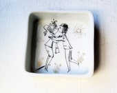 Vintage rosenthal, studio s, peynet, love, lovers, trinket box, Les Amoureux, the Lovers, mid century, black and gold, wooing