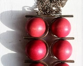 Vintage modernist necklace, Finland, red, wood beads, eye catching, Aarikka, worn