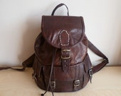 Brown leather backpack small
