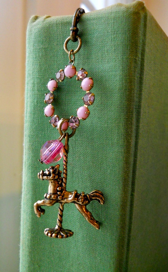 Horse Charm Bookmark Vintage Rhinestone Repurposed Earring Pink Crystal Book Lover Gift