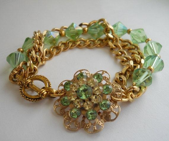 RESERVED: Vintage Crystal Bracelet Peridot Green Repurposed Rhinestone Flower Brooch Glass Crystal Gold Chain Bridesmaid