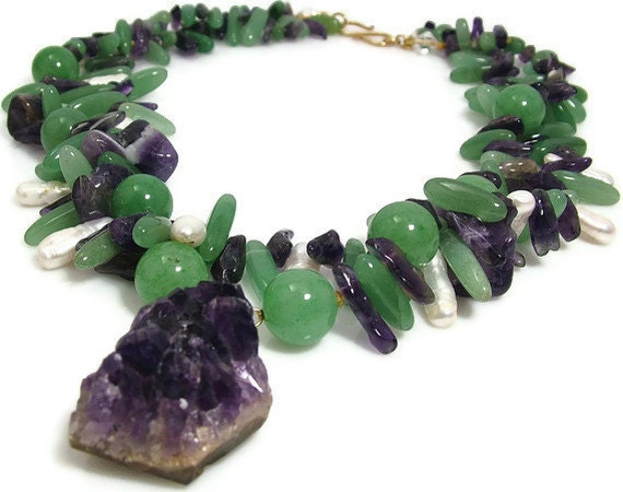 Statement Jade Necklace Chunky Amethyst Druzy Biwa Pearl Purple and Green Spikes Necklace OOAK