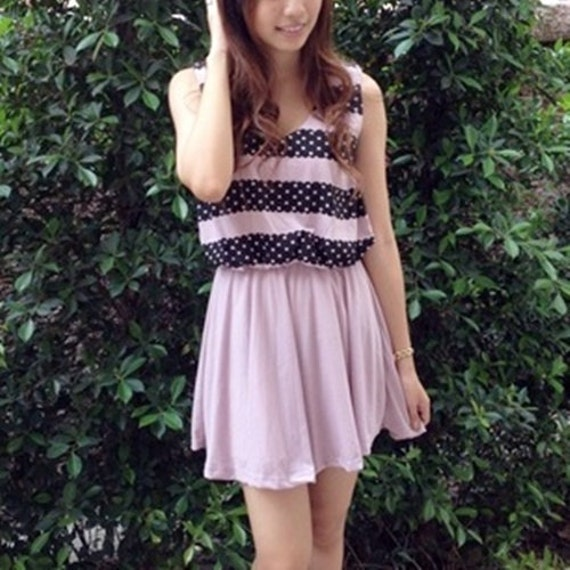 Promotion price 18 from 32 Adorable Dot Stripe Pink dress