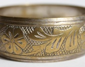 Vintage Bronze Bracelet, Solid Metal, Floral Etchings from the 1970s at Granny Ds Attic