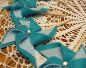 Set of 20 Turquoise Cupcake Toppers for Meagan