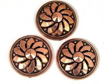 Ring Topper Sunflower Cabochon, antique copper, 6 pieces