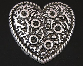 Ring Topper Lava Heart, antique silver, 6 pieces