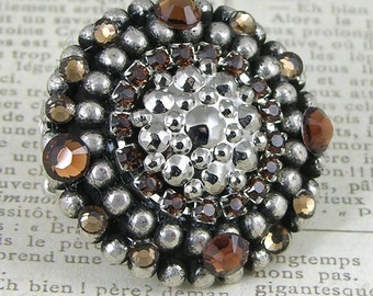 Swarovski Crystal Smokey Topaz and Classic Silver vintage components, Stretch Band Ring, each