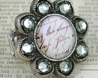 French Sentiment with Swarovski Crystal on Vintage Flower Component, each