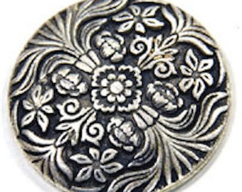 12 Round Victorian Flowers Button Cabochon Flatback, Antique Silver, 9511AS,