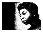 "Nina Simone Scratch Board Print approx 6X8"""