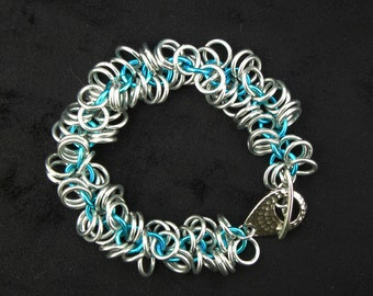Turquoise Blue & Silver Chainmaille Shaggy Loops Bracelet