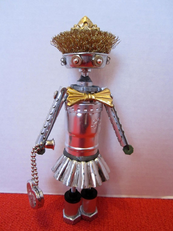 Reserved Penny Lee Bot - found object robot sculpture assemblage