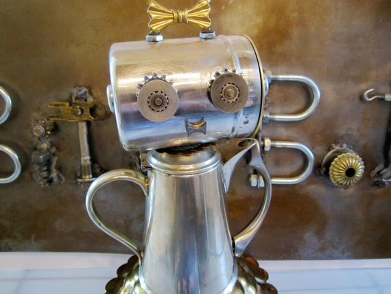 Abby Pot Bot - found object robot sculpture assemblage