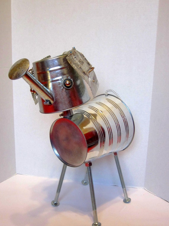 Reserved Peanut the Elephant Bot - found object robot sculpture assemblage