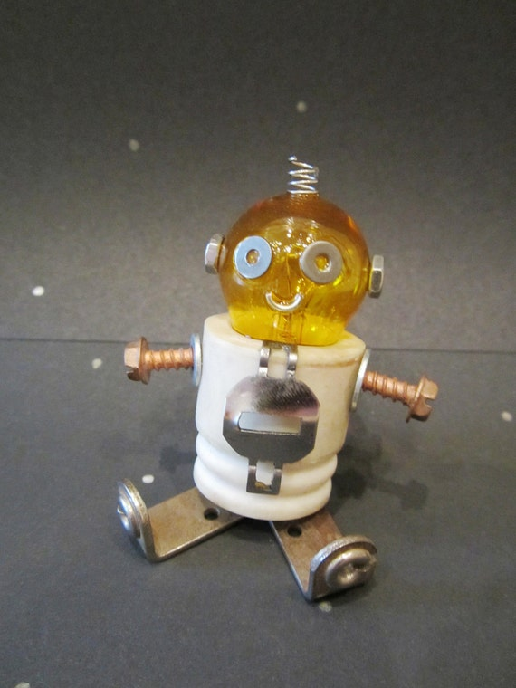 Baby Bulb Bot  - found object robot sculpture assemblage