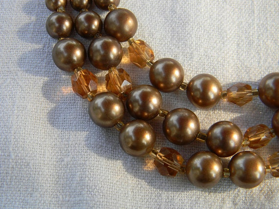 Vintage Triple Strand Autumn Brown MoonGlow Lucite Necklace