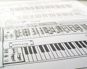 Fade To Grey - An Illustrated Collection of Classic Synthesizer Keyboards Handpulled screen printed poster - Handmade A2 art print