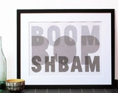 """Jazz typography poster print """"Boom Bop Sh'bam"""" - Screen printed word art music poster in cool shades of grey."""