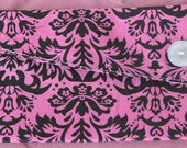 Pink Damask clutch for bridesmaid