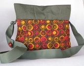 Orange red brown and yellow circle quilted purse