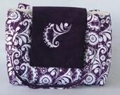 Embroider quilt purse in dark purple floral with dark purple corduroy  flap with monogram