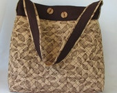Embroider quilt purse in brown, tan leaf purse