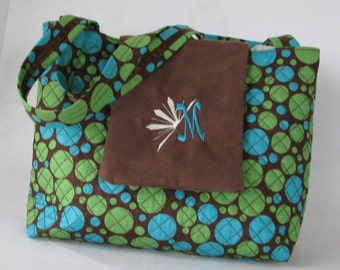 SALE....Embroider quilt purse in blue and green circles with brown flap with monogram