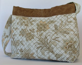 Embroider seafoam green flowered purse