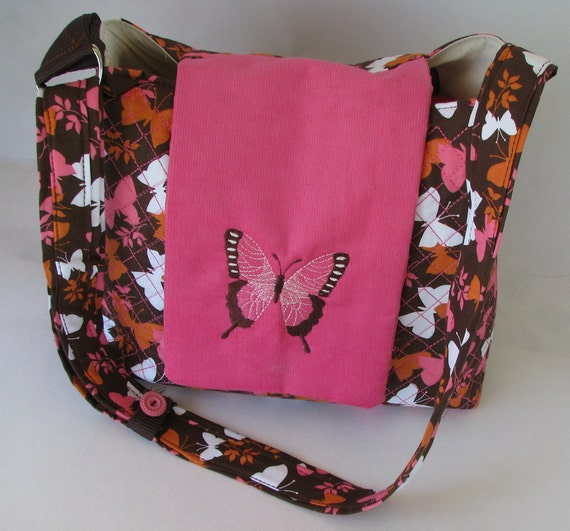 SALE.....Embroider quilt purse in pink, orange,  brown and white butterfly with embroider butterfly flap