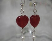 Love you lots- sterling silver earrings with small red heart